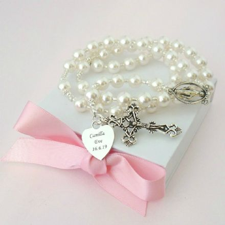Rosary Beads with Engraving, Many Pearl Colours